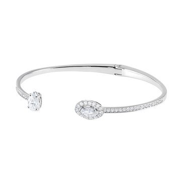Swarovski Attract Open Hinge Mix Cubic Zirconia and Crystal Medium Bangle, Rhodium Plated