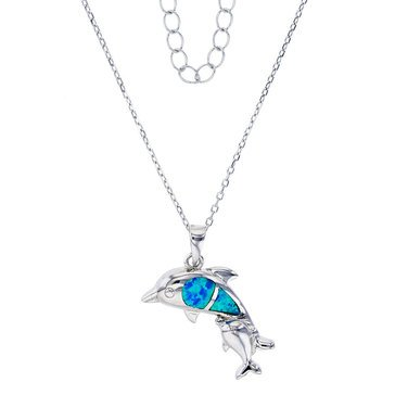Bijoux Du Soleil Created Opal Dolphin Pendant, Sterling Silver