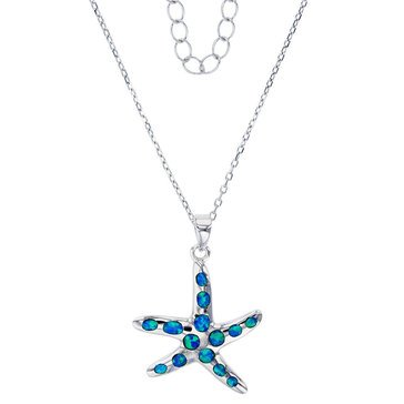 Bijoux Du Soleil Created Opal Starfish Pendant, Sterling Silver