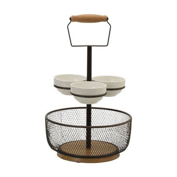 Gourmet Basics by Mikasa Thread 2-Tier Server with 3 Bowls