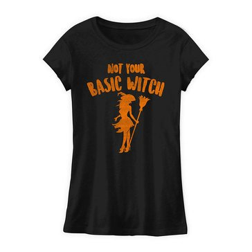 Trau & Loevner Women's Not Basic Witch Halloween Junior Fit Tee