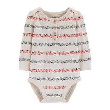 Oshkosh Baby Girls' Floral Stripe Henley Bodysuit