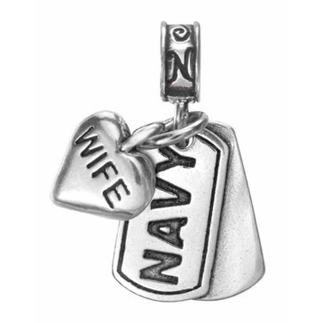 Nomades Navy Dog Tag With Wife Charm