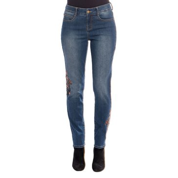 Skye's The Limit Women's Embroidered 5 Pocket Slimming Jeans