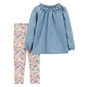 Carter's Toddler Girls' Denim and Floral Pant Set