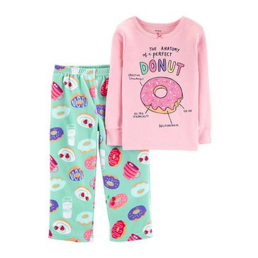 Carter's Little Girls' 2-Piece Fleece Pink Donut Pajamas