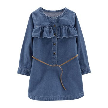 Carter's Toddler Girls' Chambray Ruffle Front Dress