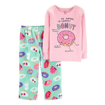 Carter's Big Girls' 2-Piece Fleece Pink Donut Pajama Set