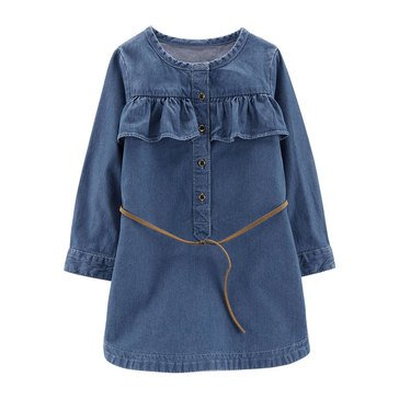 Carter's Little Girls' Denim Chambray Belted Dress