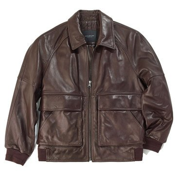 Marc New York Men's Leather Coles Zip Front Bomber Jacket