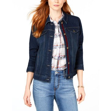 Charter Club Women's Lace Up Sleeve Denim Jacket