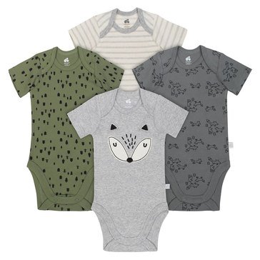 Just Born Baby Boys' Organic 4-Pack Bodysuit Set