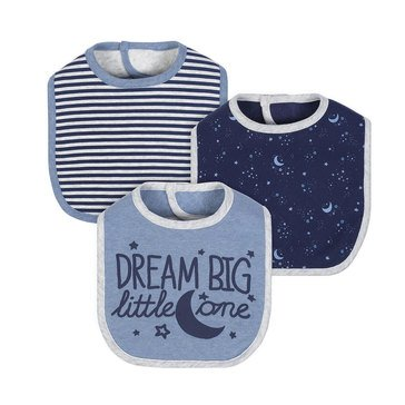 Just Born Baby Boys' Organic 3-Pack Starter Bibs, Space
