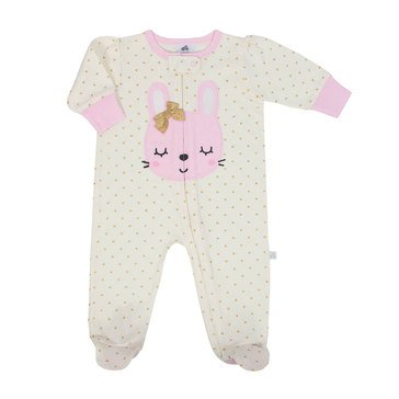 Just Born Baby Girls' Organic Zip Front Jersey Sleep 'N Play