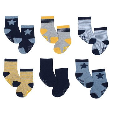 Just Born Baby Boys' 6-Pack Crew Wiggle Proof Socks