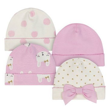 Just Born Baby Girls' Organic 4-Pack Caps, Bunny