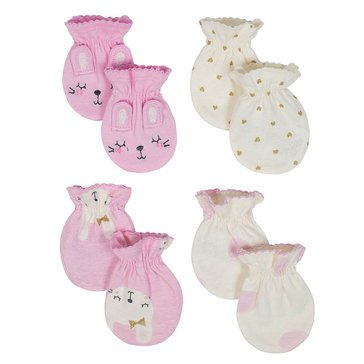Just Born Baby Girls' Organic 4-Pack Mittens