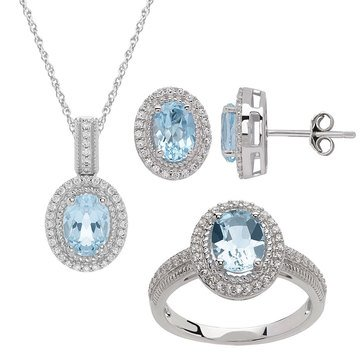 Cubic Zirconia Created Sky Blue Topaz 3-Piece Set, Sterling Silver