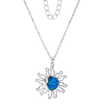 Created Opal Sun Pendant, Sterling Sterling