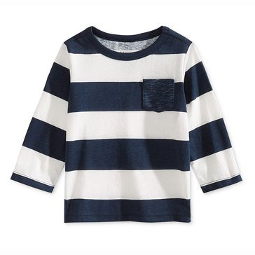 First Impressions Baby Boys' Long Sleeve Rugby Stripe Pocket