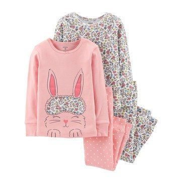 Carters' Little Girls' 4 Piece Cotton Pink Bunny Pajamas