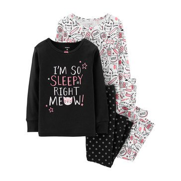 Carters' Toddler Girls' 4 Piece Cotton Black Sleepy Kitty Pajama
