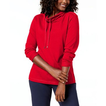 Karen Scott Women's Long Sleeve Solid Funnel Neck Top