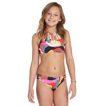 Billabong Big Girls' 2Piece Dream Time Print Hi Neck Swim Set