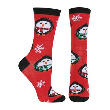 Capelli Women's Holiday Puffy Penguins Crew Socks