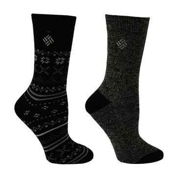Columbia Women's 2-Pack Med Weight Fairisle Thermal Socks