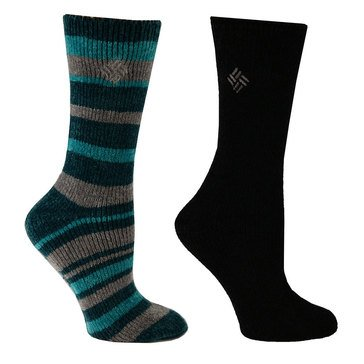 Columbia Women's 2-Pack Striped Chenille Crew Socks