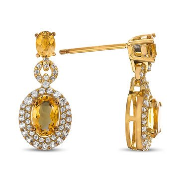 Citrine Earrings, Gold Plated Sterling Silver