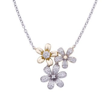 1/4 ct.tw. Diamond Flower Necklace, Sterling Silver and 10K