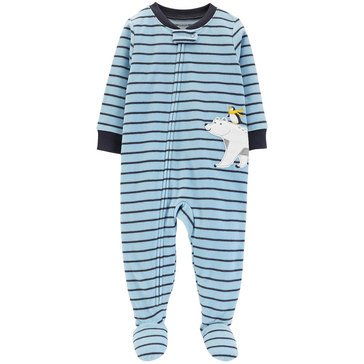 Carter's Baby Boys' Striped Polar Bear Fleece Pajamas