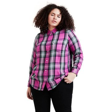 Levi Womens Long Sleeve Ryan 1 Pocket Boyfriend Top
