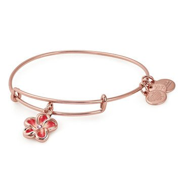 Alex and Ani Rose Gold Tone Color Infusion, Tropical Flower Expandable Wire Bangle