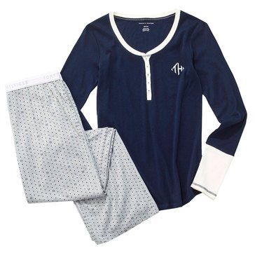 Tommy Hilfiger Women's Long Sleeve Henley Logo Pjs