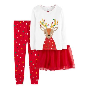 Carter's Toddler Girls' 3-Piece Cotton Reindeer Tutu Holiday Pajama Set
