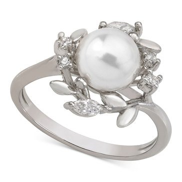 Majorica Romance 8mm White Round Pearl Ring with CZ  Sterling Silver Size 7