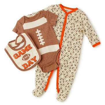Quiltex Baby Boys' 3-Piece Game Day Coverall Set
