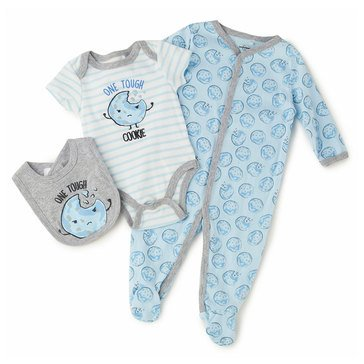 Quiltex Baby Boys' 3-Piece Tough Cookie Coverall Set