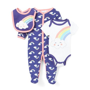 Quiltex Baby Girls' 3-Piece Rainbow Coverall Set