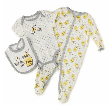 Quiltex Baby Girls' 3-Piece Honey Bee Coverall Set