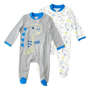 Quiltex Baby Boys' 2-Pack Dino Novelty Interlock Coverall