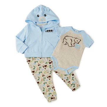 Quiltex Baby Boys' 3-Piece Beary Cute Hoodie Set