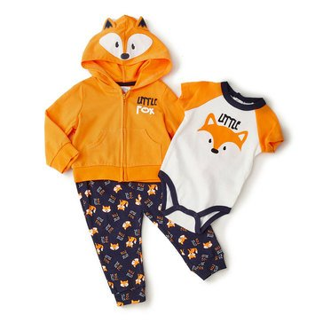 Quiltex Baby Boys' 3-Piece Little Fox Hoodie Set