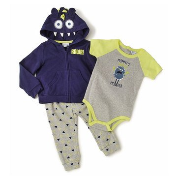Quiltex Baby Boys' 3-Piece Mommy's Little Monster Hoodie Set