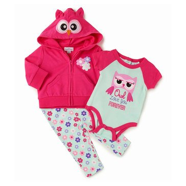 Quiltex Baby Girls' 3-Piece Owl Love You Hoodie Set
