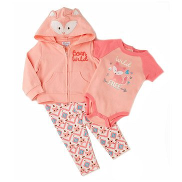 Quiltex Baby Girls' 3-Piece Mrs. Fox Hoodie Set