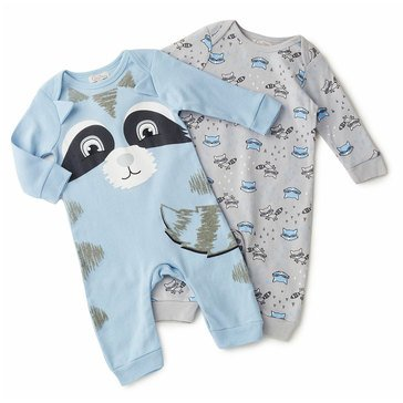 Quiltex Baby Boys' 2-Pack Little Raccoon Interlock Coverall